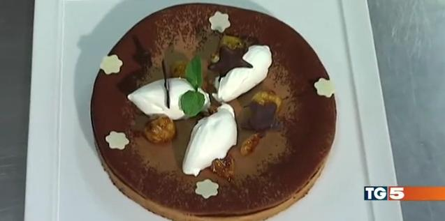 sablè di cioccolato con castagne caramellate