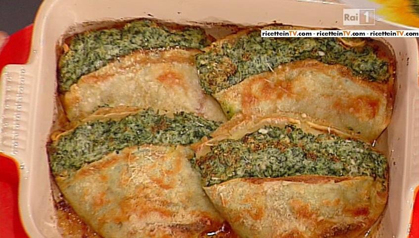 fazzoletti di crepes di farro con ricotta e spinac