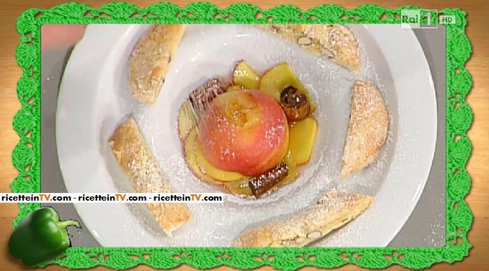 biscotti di prato alle mandorle con pesche al vin santo