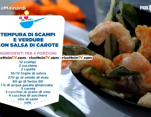 tempura di scampi e verdure con salsa di carote