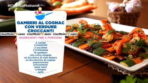 gamberi al cognac con verdure croccanti