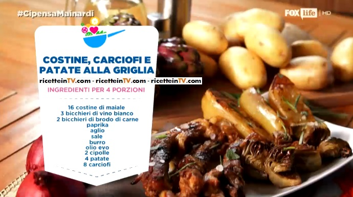costine carciofi e patate alla griglia