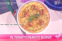 pizza di Kamut con pancetta e zucchine