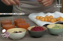 meringhette salate al Grana e gazpacho