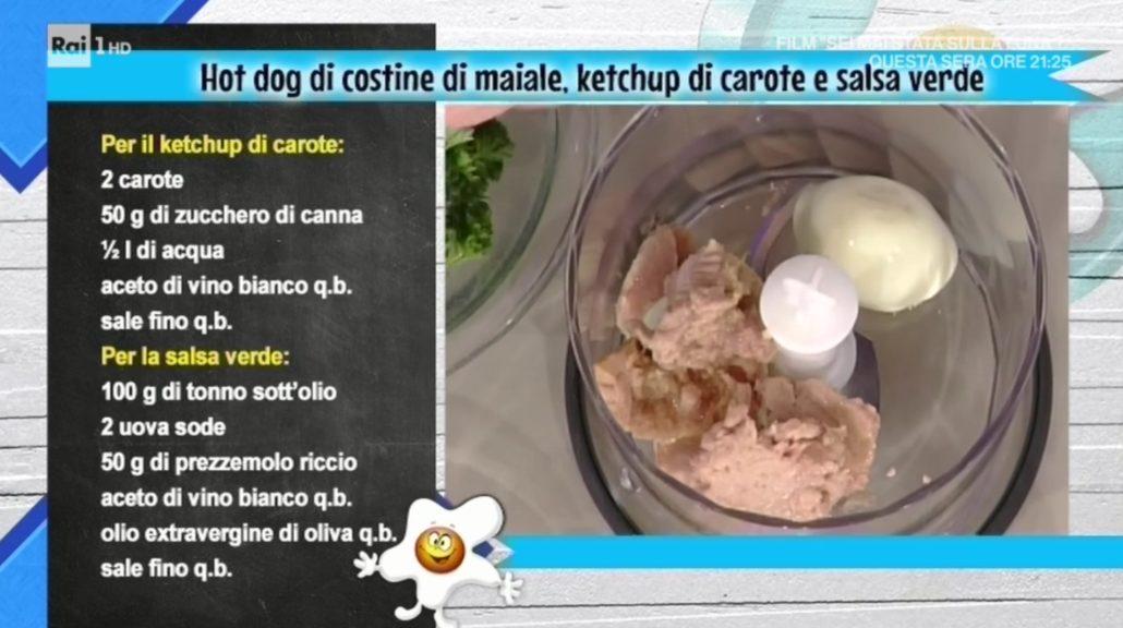 Ketchup Ricetta Mainardi.La Prova Del Cuoco Ricetta Hot Dog Di Costina Di Maiale Ketchup Di Carote E Salsa Verde Di Andrea Mainardi