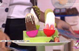 ghiaccioli al cioccolato, fragola, pistacchio e yogurt