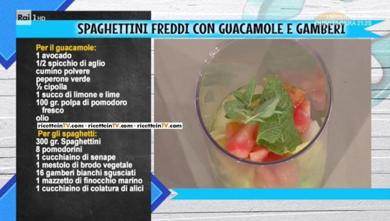 spaghettini freddi con guacamole e gamberi di Gianfranco Pascucci