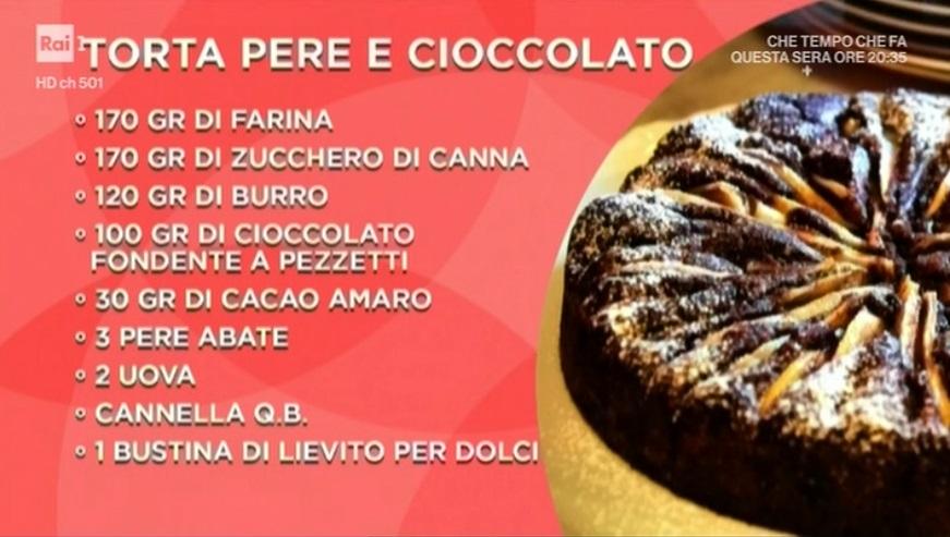 Domenica In Ricetta Torta Pere E Cioccolato Di Benedetta Parodi