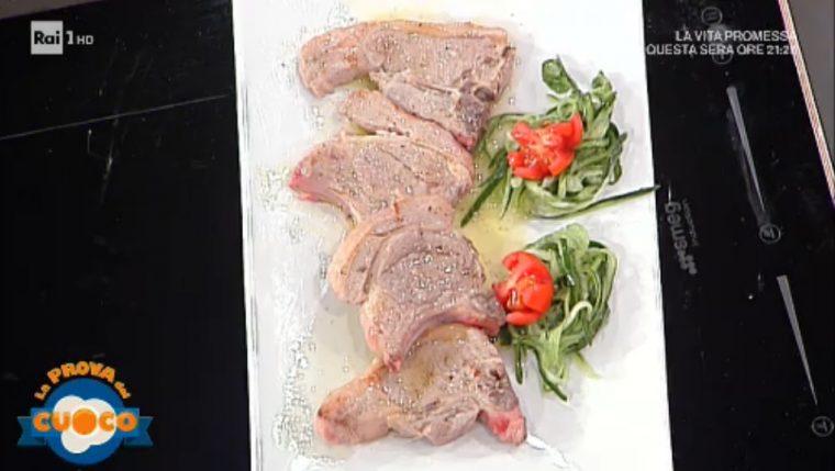 costolette di agnello con cetrioli e mentuccia di Beppe Sardi