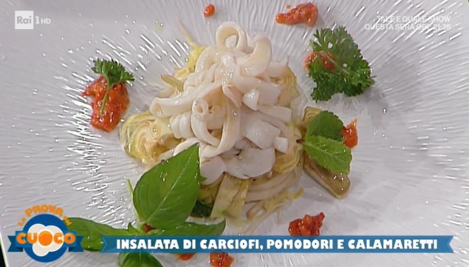 insalata di carciofi pomodori e calamaretti