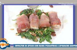 involtini di speck con rana pescatrice e spinaci