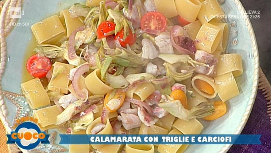 calamarata con triglie e carciofi di Diego Bongiovanni