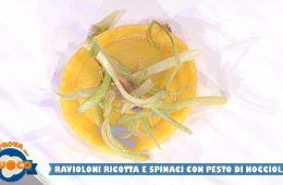 ravioli ricotta e spinaci con pesto di nocciole