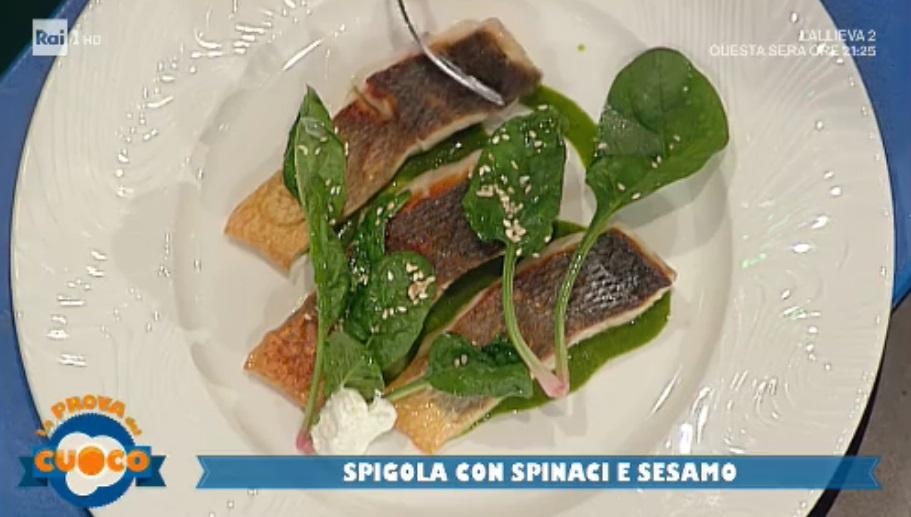 spigola con spinaci e sesamo di Gianfranco Pascucci