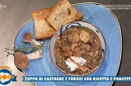 zuppa di castagne e funghi con ricotta e pancetta