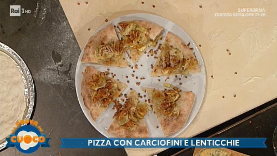 pizza senza lievito con carciofini e lenticchie di Renato Bosco