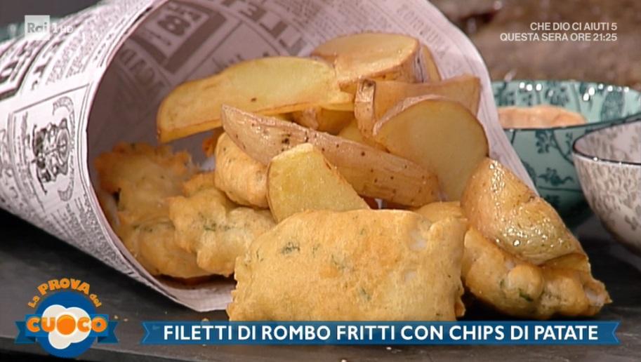 filetti di rombo fritti con chips di patate di Diego Bongiovanni