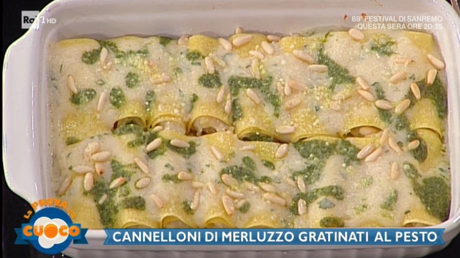 cannelloni di merluzzo gratinati al pesto di Diego Bongiovanni