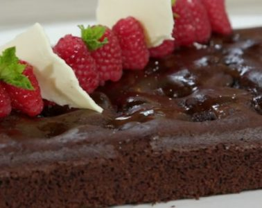 torta cioccolato e lamponi