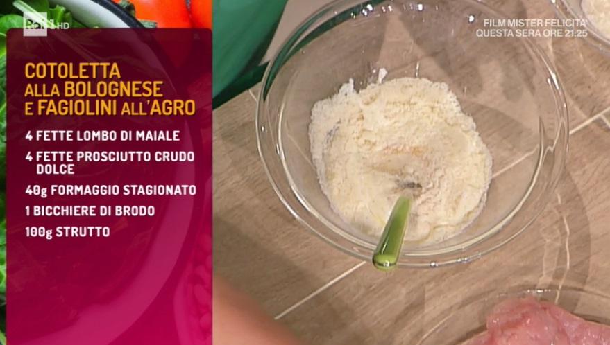 cotoletta alla bolognese e fagiolini all'agro