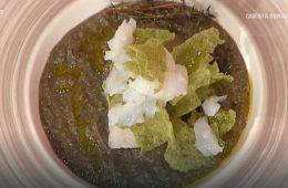 baccalà con lenticchie e chips di riso di Natale Giunta