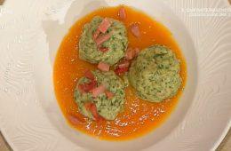 canederli agli spinaci su crema di zucca di Stefano Cavada