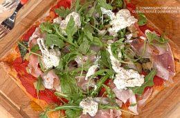 pizza con lonza melanzane e stracciata di Gabriele Bonci