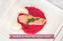 salmone su purè di rapa rossa e patate di Marco Bianchi