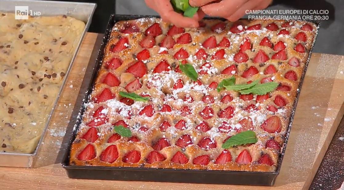 focaccia dolce fragole e cioccolato di Fulvio Marino