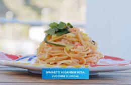 spaghetti zucchine limone e gamberi