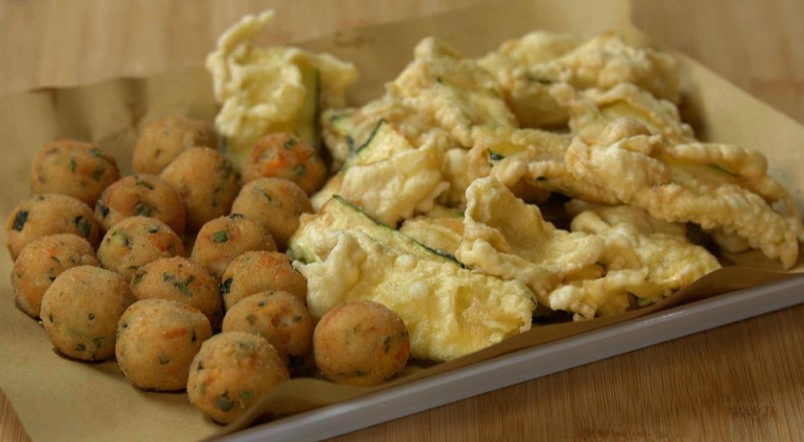 polpette e zucchine fritte