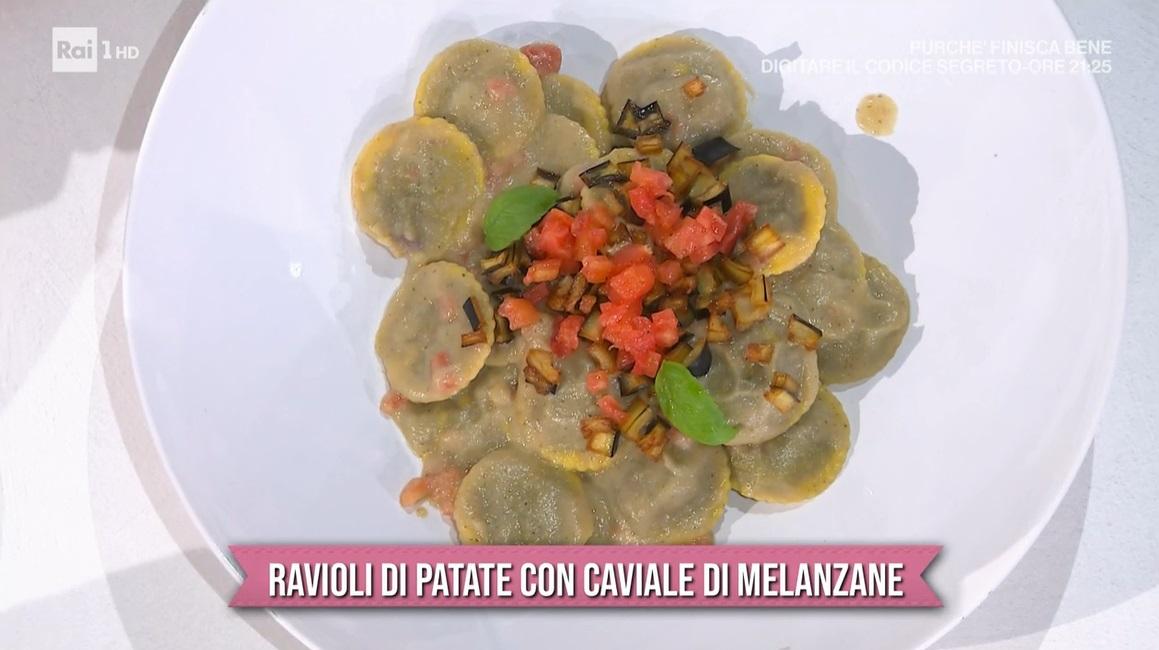 ravioli di patate con caviale di melanzana di Michele Farru